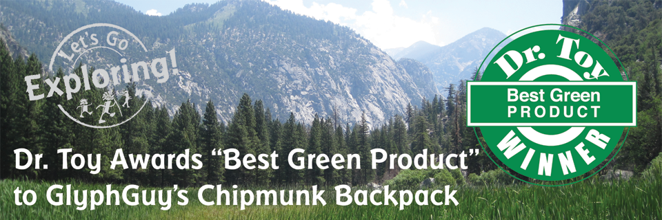 """Dr. Toy Awards """"Best Green Product"""" to GlyphGuy's Chipmunk Backpack"""