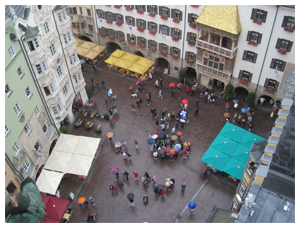 View from the Stadtturm. Looking down onto the Goldenes Dachl (Golden Roof).