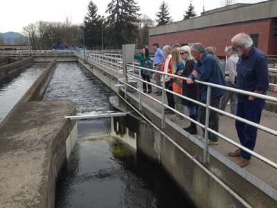 Treated water that is almost ready to be returned to the Willamette River.